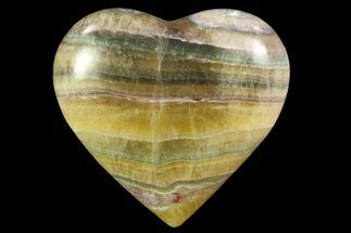 "Buy 2.9"" Polished, Banded Fluorite Heart - Argentina - #84181"