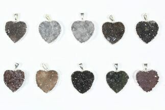 Wholesale Lot: Druzy Amethyst Heart Pendants - 10 Pieces For Sale, #84086