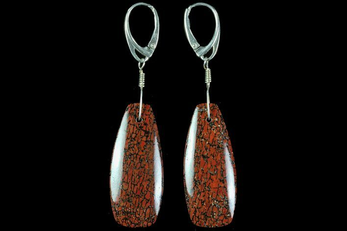Large, Red, Agatized Dinosaur Bone (Gembone) Earrings
