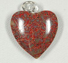 Red Heart, Agatized Dinosaur Bone (Gembone) Pendant  For Sale, #84762