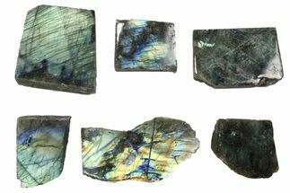 Buy Wholesale: 1kg One Side Polished Labradorite - 6 Pieces - #84550