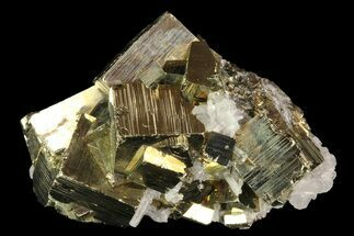"3.1"" Gleaming Pyrite Cluster With Quartz - Peru For Sale, #84812"