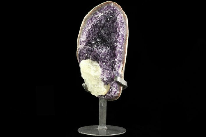 "10"" Amethyst Geode With Calcite & Polished Face - Metal Stand"