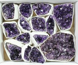 Buy Wholesale Lot: Uruguay Amethyst Clusters (Grade A) - 14 Pieces - #90109