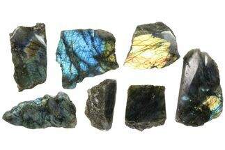Wholesale: 1kg One Side Polished Labradorite - 7 Pieces For Sale, #84539