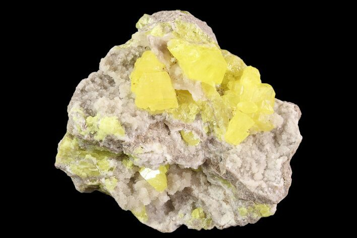"2.4"" Sulfur Crystals & Strontianite on Matrix - Italy"