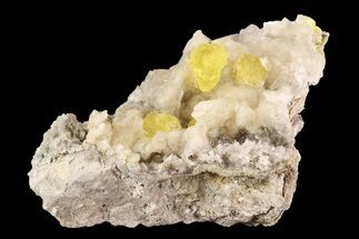 "3.8"" Sulfur Crystals On Selenite - Cianciana Mine, Italy For Sale, #93656"