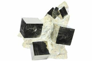"4.2"" Wide, Natural Pyrite Cubes In Rock - Navajun, Spain For Sale, #94334"