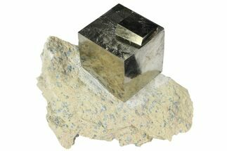 Buy Flawless, Large Pyrite Cube In Matrix - Navajun, Spain - #94336