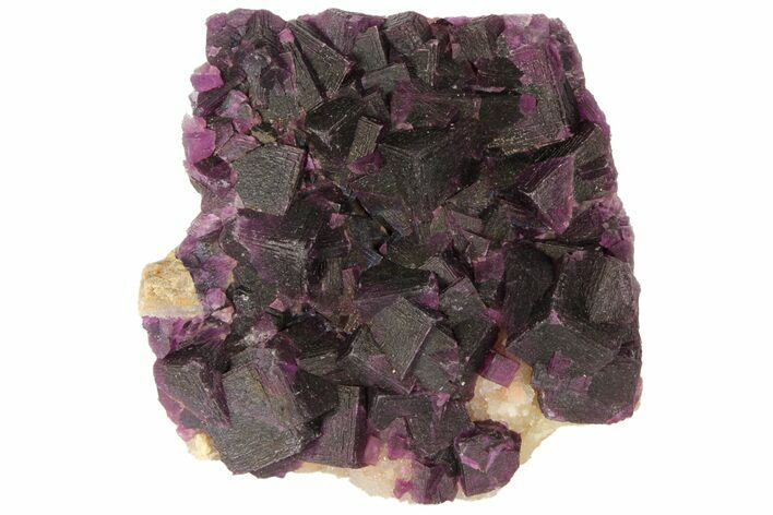 "3.4"" Dark Purple Cubic Fluorite on Quartz - China"