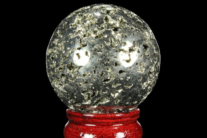 "2.25"" Polished Pyrite Sphere - Peru"