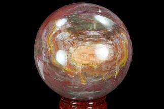 "3.1"" Colorful, Petrified Wood Sphere - Madagascar For Sale, #98456"