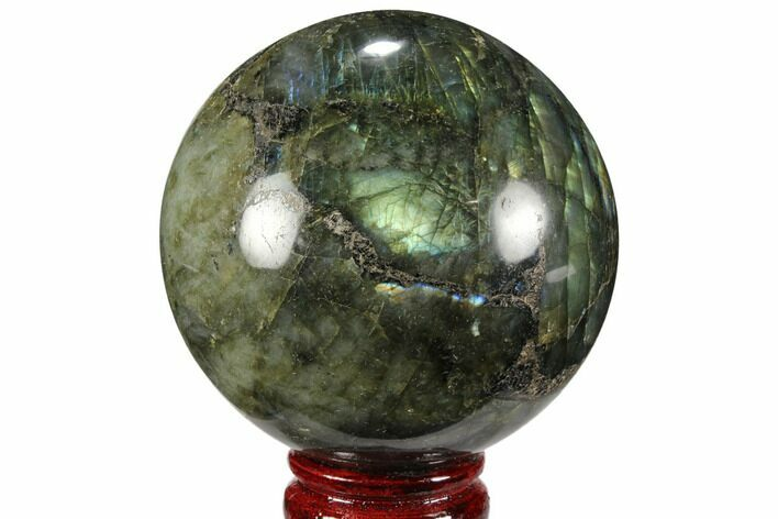 "3.32"" Flashy, Polished Labradorite Sphere - Great Color Play"