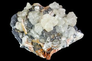 "2"" Cerussite Crystals with Bladed Barite on Galena - Morocco For Sale, #100763"