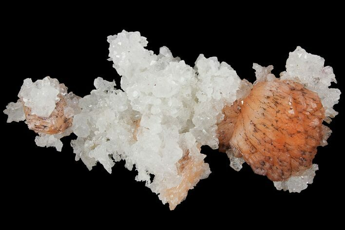 "3.3"" Orange Stilbite and Quartz Crystal Association - India"