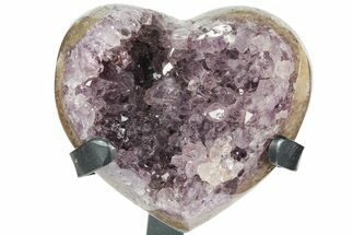 "Buy 4.4"" Amethyst Crystal Heart On Metal Stand - Uruguay - #102625"