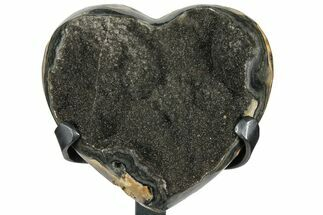 "Buy 5.1"" Gray, Druzy Quartz Heart On Metal Stand - Uruguay - #102634"