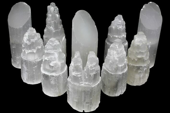 "Wholesale Lot: 7-10"" Assorted Selenite Lamps - 10 Pieces"