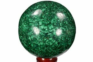 "3.05"" Flowery, Polished Malachite Sphere - Congo For Sale, #106268"
