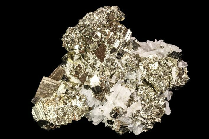 "2.7"" Gleaming, Cubic Pyrite & Quartz Association - Peru"