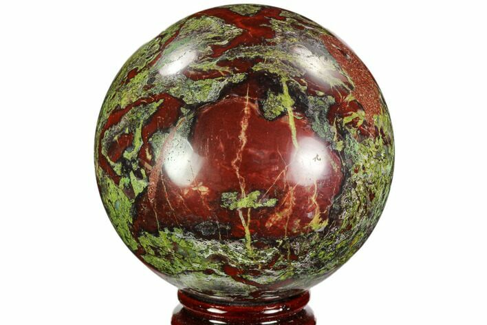 "3.3"" Polished Dragon's Blood Jasper Sphere - South Africa"