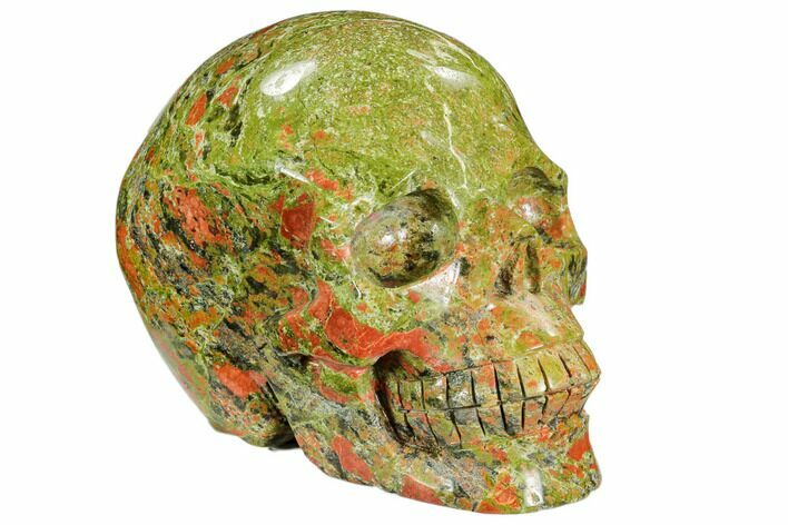 "5.4"" Carved, Unakite Skull - South Africa"