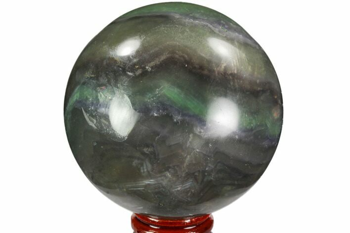 "2.95"" Colorful, Banded Fluorite Sphere - China"