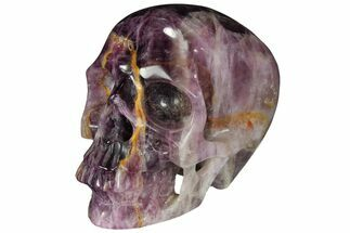 "Buy 4.9"" Realistic, Carved, Banded Fluorite Skull - #111208"