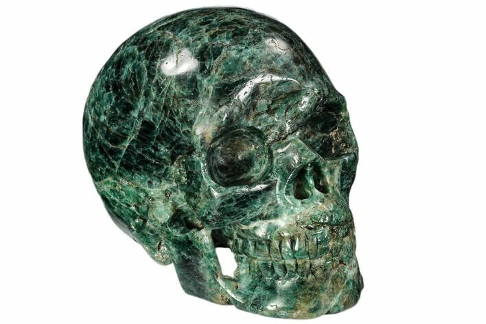 "4.9"" Polished, Bluish-Green Apatite Skull - Madagascar"
