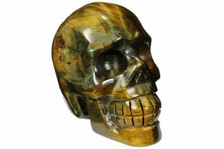 "2.45"" Polished Tiger's Eye Skull - Crystal Skull For Sale, #111809"