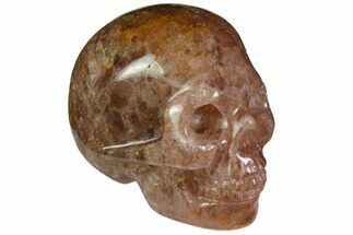 "Buy 2"" Carved, Strawberry Quartz Crystal Skull - Madagascar - #116326"