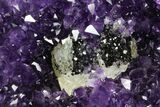 "8.9"" Amethyst Geode with Calcite on Metal Stand - Great Color - #116287-4"