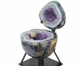 "9.1"" Agate & Amethyst ""Jewelry Box"" Geode With Metal Stand For Sale, #116282"