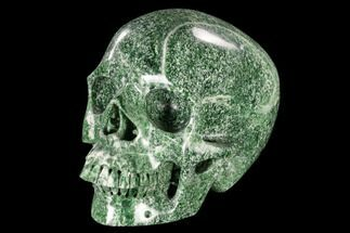 "7"" Realistic, Polished Hamine Jade Skull For Sale, #116390"