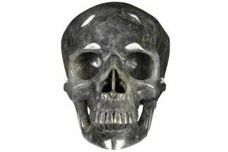 "Buy 6"" Carved, Grey Smoky Quartz Crystal Skull - Madagascar - #116470"