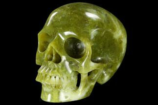 "6"" Realistic, Polished Jade (Nephrite) Skull For Sale, #116489"