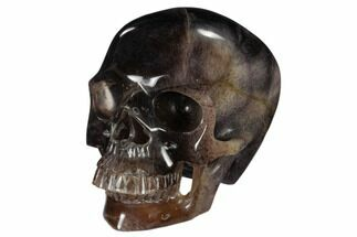 "7"" Realistic, Carved, Purple Fluorite Skull - China For Sale, #116339"