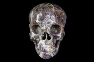 "5"" Realistic, Carved Chevron Amethyst Skull  For Sale, #116681"