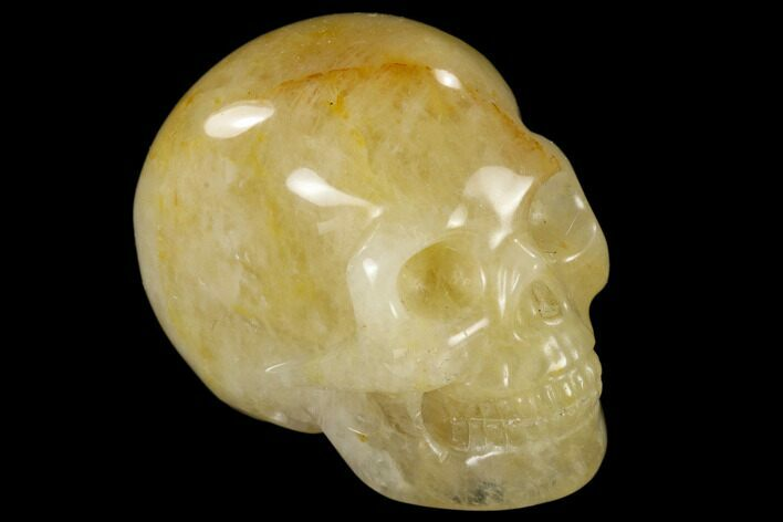 "1.9"" Realistic, Polished Yellow and White Aventurine Skull"