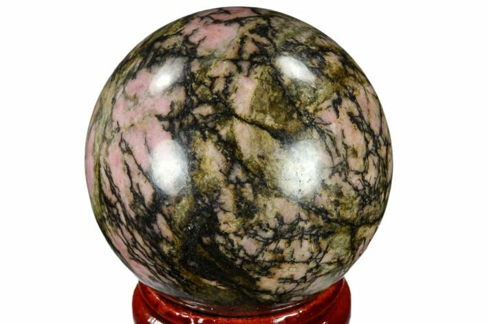 "1.6"" Polished Rhodonite Sphere - India"