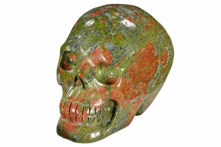 "3.3"" Carved, Unakite Skull - South Africa"