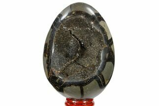 "3.8"" Septarian ""Dragon Egg"" Geode - Black Crystals For Sale, #118709"