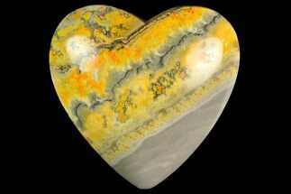"3.15"" Polished Bumblebee Jasper Heart - Indonesia For Sale, #121202"