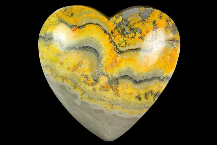 "3.2"" Polished Bumblebee Jasper Heart - Indonesia"