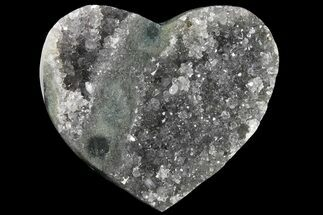 "3"" Silvery, Druzy Quartz Heart - Uruguay For Sale, #121406"