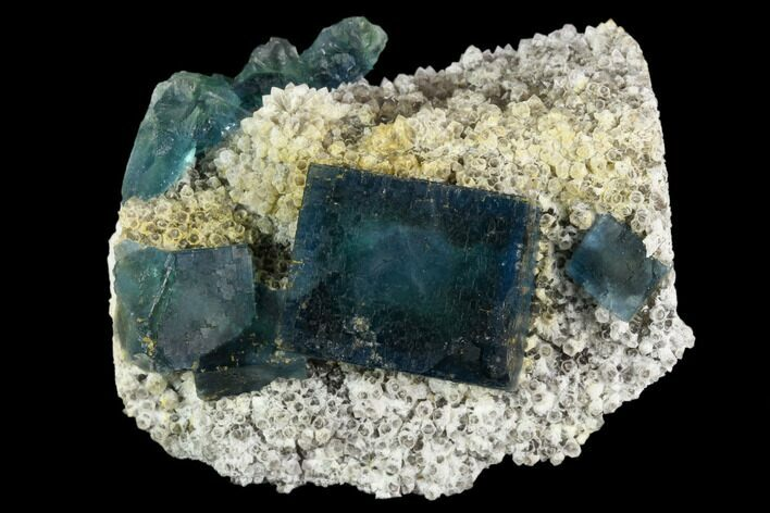"2.8"" Cubic, Blue-Green Fluorite Crystals on Quartz - China"