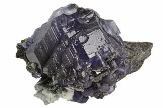 "2.3"" Deep Purple Fluorite Crystals with Quartz - China For Sale, #122012"