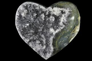 "Buy 3.6"" Druzy Grey Quartz Heart - Uruguay - #123682"