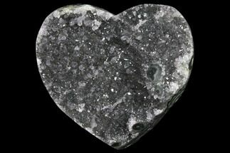 "3.4"" Druzy, Grey Quartz Heart - Uruguay For Sale, #123683"