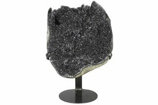 "Buy 9.4"" Sparkling Purple/Grey Quartz Geode Section - Metal Stand - #126343"